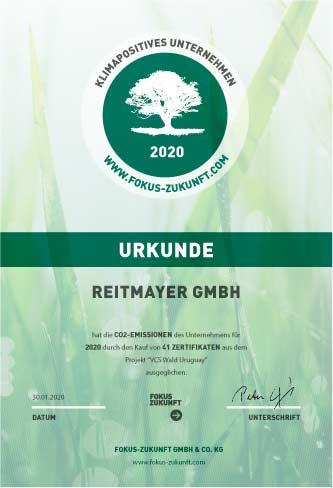 Klimaneutral_Urkunde_Reitmayer_2020